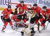 Boston Bruins' David Pastrnak, Ottawa Senators' Jean-Gabriel Pageau, Mark Borowiecki and Mike Hoffman watch the puck as it bounces near the Ottawa net during an NHL game on March 6, 2017. (THE CANADIAN PRESS/Justin Tang)