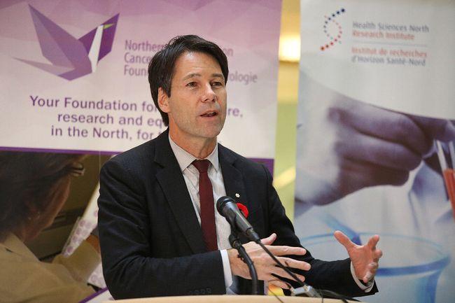 Ontario Health Minster Eric Hoskins speaks to the crowd at Health Sciences North in Sudbury, Ont. on Nov. 8, 2016. (Gino Donato/Sudbury Star/Postmedia Network)