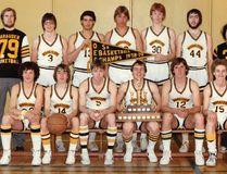 Annandale HS senior boys won their first Oxford-Elgin senior boys basketball championship in 1978-79. From left are (front) Danee Fulop, Paul Molnar, Brad Sergeant, Steve Garnham, Rick Pasztor, Tom Allin, (back row) coach Jim Donaldson, Paul Belcher, Rob Gilvesy, Richard Nemeth, Chris Irvine, Greg Tilford and manager Mike Baxter. (CONTRIBUTED PHOTO)
