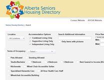 Alberta Senior Housing Directory screenshot.