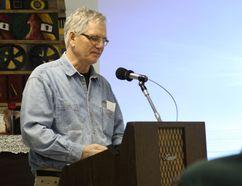 Technician Richard Warkentin speaks at the SSMA Annual General Meeting (LAUREN MACGILL, Winkler Times)