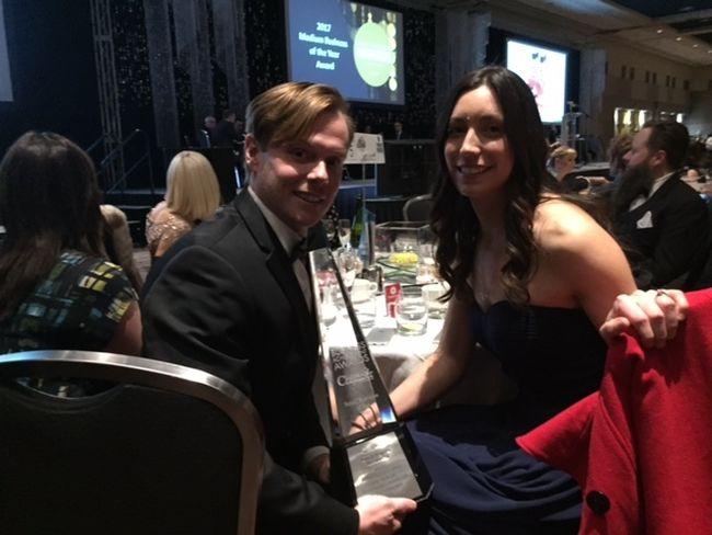 Kombucha bottlers, Shawn and Shannon Slade, win small business category at London Chamber of Commerce Awards. (HANK DANISZEWSKI, The London Free Press)