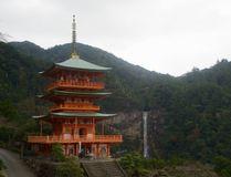 The Nachi Taisha shrine, one of three great Shinto shrines on JapanÕs Kumano pilgrimage, sits on steep hillside next to the Nachi-no-Otaki, JapanÕs highest falls. PETER NEVILLE-HADLEY/HORIZON WRITERS' GROUP