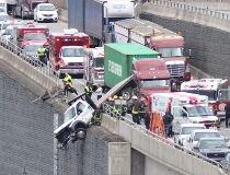 Truck hangs off side of BC highway_1