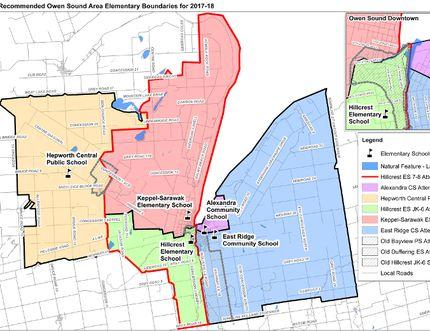 Bluewater Distict School Board elementary school boundary proposals in Owen Sound area.