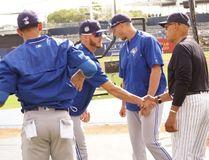 Blue Jays slugger Josh Donaldson meets former Yankees great Reggie Jackson Saturday in Tampa, Fla. (Eddie Michels photo)