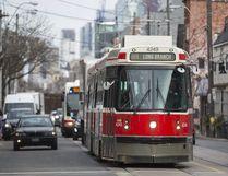 A TTC streetcar makes it's way along Queen St. W. in Toronto on March 2, 2017. (Ernest Doroszuk/Toronto Sun/Postmedia Network)