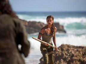Alicia Vikander as Lara Croft in Tomb Raider, opening March 16, 2018.  (Graham Bortholomew photo/handout)