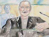 "This courtroom sketch dated Tuesday, March 28, 2017, shows Venezuelan-born Ilich Ramirez Sanchez known as ""Carlos the Jackal"" during his trial at a Paris courthouse, France. (Eliza Parmentier via AP)"