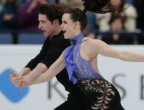 Canada's Tessa Virtue and Scott Moir skate their short dance at the world figure skating championships in Helsinki, Finland, on Friday, March 31, 2017. (Ivan Sekretarev/AP Photo)
