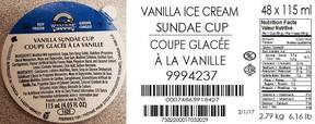 Wholesome Farms' Vanilla Sundae Cups. (CFIA/HO)
