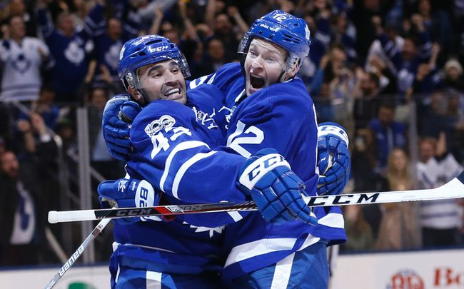 Toronto Maple LeafsNazem Kadri C (43) celebrates Connor Brown's  (12) game winning goal during the third period in Toronto on Saturday April 8, 2017. Jack Boland/Toronto Sun/Postmedia Network
