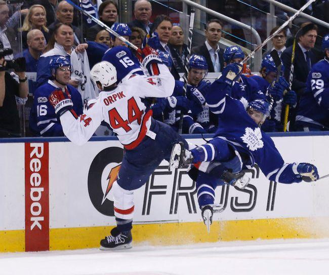 Leafs Nazen Kadri hits Brooks Orpik as the Toronto Maple Leafs host the Washington Capitals in the third game 3 of the their first round series at the Air Canada Centrein Toronto on Monday April 17, 2017. Michael Peake/Toronto Sun/Postmedia Network