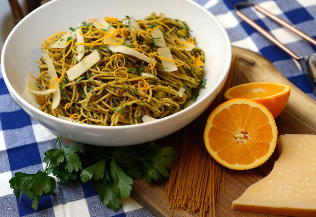 Whole Wheat Pasta with Almond and Orange Pesto. (MORRIS LAMONT, The London Free Press)