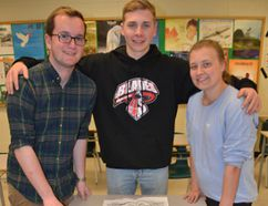 Owen Sound District Secondary School students Josh Blair, left, Kolton Nebb-McKean and Abbie Radbourne. (Rob Gowan The Sun Times)