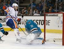 Edmonton Oilers center Leon Draisaitl scores on San Jose Sharks goalie Martin Jones during Game 6 of their first-round playoff series on Saturday, April 22, 2017, in San Jose, Calif. (Tony Avelar/AP Photo)