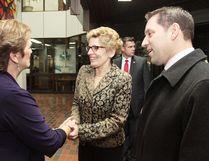 Mayor Debbie Amaroso meets with Ontario Premier Kathleen Wynne and Sault Ste. Marie MPP David Oraziettti in 2013. (Sault Star File Photo)