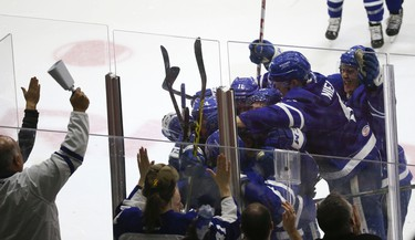 Toronto Marlies Colin Greening beats Albany Devils Mackenzie Blackwood in OT winning 3-2 during AHL first round playoffs in Toronto on Thursday April 27, 2017. Jack Boland/Toronto Sun/Postmedia Network