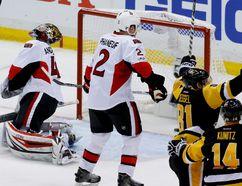 Pittsburgh Penguins' Phil Kessel after scoring on Ottawa Senators goalie Craig Anderson during Game 2 on May 15, 2017. (AP Photo/Gene J.Puskar)