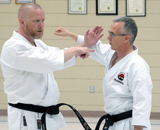 Scott Middleton Sensei, left, and Traditional Karate Ontario's Andy Horvath at the Tillsonburg Senior Centre on May 7. (Chris Abbott/Tillsonburg News)