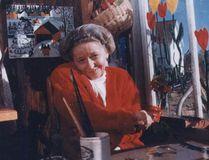 Maud Lewis in her cramped studio. (File Photo)