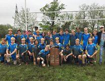 The Brantford Collegiate Institute junior boys rugby team celebrates its CWOSSA championship on Thursday. (Expositor Photo)