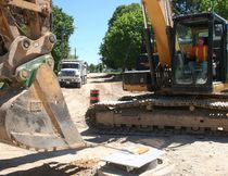 Cope Construction worker Jeremy Vorsteveld at work. (Justine Alkema/Clinton News Record)