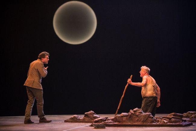 Ben Carlson (left) as Apemantus and Joseph Ziegler as Timon in Timon of Athens.