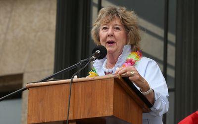 Lt. Gov. Janice Filmon speaks during the 30th annual Pride Winnipeg festival rally at the Manitoba Legislative Building in Winnipeg on Sun., June 4, 2017. Kevin King/Winnipeg Sun/Postmedia Network