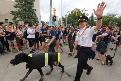Winnipeg Fire Paramedic Service chief John Lane marches during the 30th annual Pride Winnipeg parade in Winnipeg on Sun., June 4, 2017. Kevin King/Winnipeg Sun/Postmedia Network