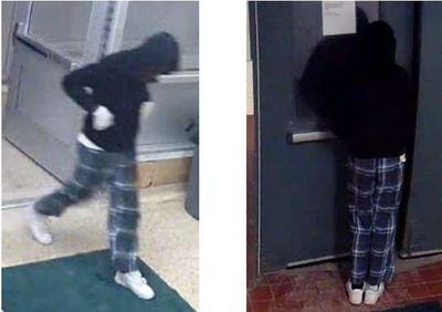 Dameion McFarland murder suspect wearing blue plaid pyjama pants, white New Balance runners, one dark sock and one light sock.