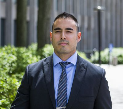 Toronto Police Const. Joshua Cabero leaves the courthouse at 361 University Ave. in Toronto on Monday, May 29, 2017. (Ernest Doroszuk/Toronto Sun)