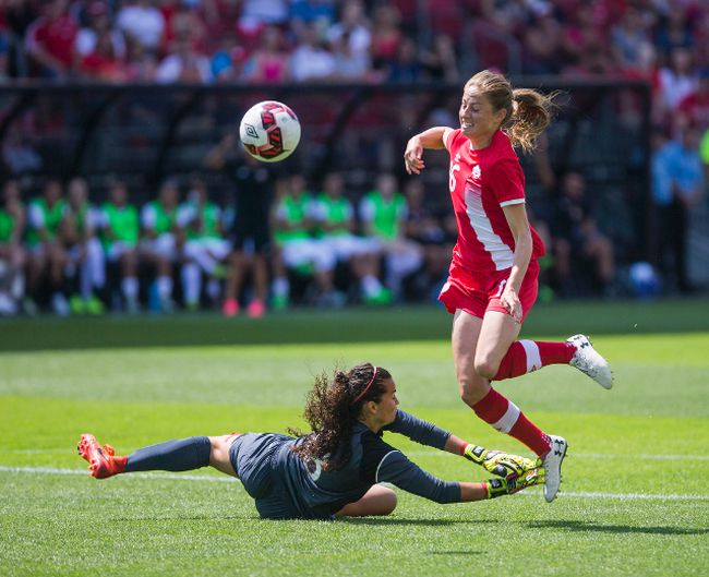 Canada Janine Beckie and Costa Rica goalkeeper Noelia Berm�dez during Women's International Friendly soccer action at BMO Field Toronto, Ont. on Sunday June 11, 2017. Ernest Doroszuk/Toronto Sun/Postmedia Network