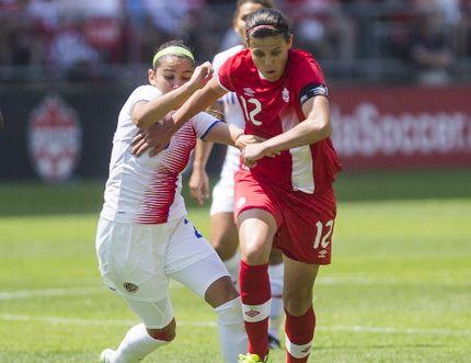Canada's Christine Sinclair battles Costa Rica's Wendy Acosta during Women's International Friendly soccer action at BMO Field Toronto, Ont. on Sunday June 11, 2017. Ernest Doroszuk/Toronto Sun/Postmedia Network