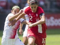 Canada Christine Sinclair and Costa Rica Wendy Acosta during Women's International Friendly soccer action at BMO Field Toronto, Ont. on Sunday June 11, 2017. Ernest Doroszuk/Toronto Sun/Postmedia Network