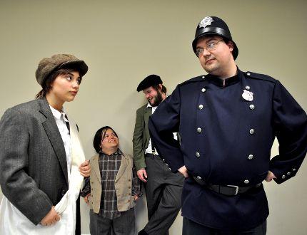 Actors Mya Soleil Matos (left), Collin Halfday, Steve Gorman, and Joey Burns rehearse a scene from the New Twist Theatre production of Peter Panhandler. CHRIS MONTANINI\LONDONER\POSTMEDIA NETWORK
