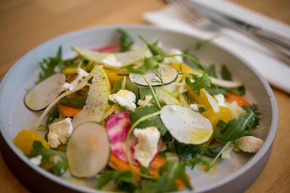 Farm salad with goat cheese & champagne vinaigrette