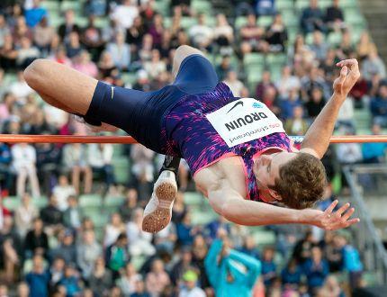 Derek Drouin of Corunna competes in the men's high jump at the Diamond League's Bislett Games in Oslo, Norway, on Thursday, June 15, 2017. (TERJE PEDERSEN/NTB scanpix via The Associated Press)