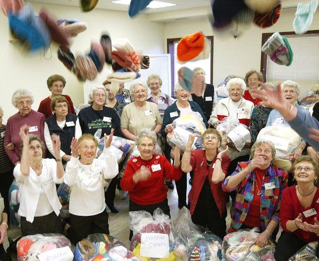 Seniors knitting