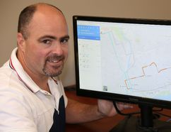 Jason Miller/The Intelligencer Transit manager, Matt Coffey, displays a computer monitor highlighting transit routes on Google Maps.