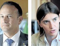 Leo Varadkar, prime minister of Ireland and Ana Brnabic, prime minister of Serbia. (AFP photos)