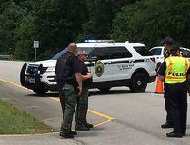 Authorities block an entrance to Redstone Arsenal, Tuesday, June 27, 2017, in Huntsville, Ala. (AP Photo/Eric Schultz)