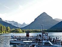 The M.V. International docks at Goat Haunt, the port of entry to Glacier National Park.