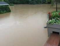 A backyard flooded in Londesborough last week. (Courtesy of Facebook)