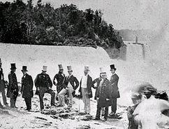 Prince Albert stands among a group of dignitaries visiting Niagara Falls in 1860. (File photo)