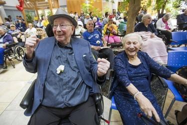 Mendel Good, 92 (left), and Adela Grinbaum, 94, enjoya prom held for residents at Baycrest Health Sciences in Toronto, Ont. on Thursday July 6, 2017. (Ernest Doroszuk/Toronto Sun)