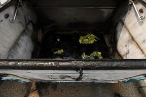 Edmonton police are investigating after fire damaged a recycling bin outside of Talmud Torah School on Saturday in Edmonton, as seen on Sunday, July 16, 2017. Ian Kucerak / Postmedia