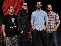 US rock band Linkin Park members (L-R) J