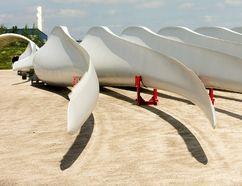 Giant wind turbine blades sit outside the Siemens plant in Tillsonburg. (MIKE HENSEN, The London Free Press)
