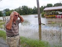 Claudio Cava reacts to the flood